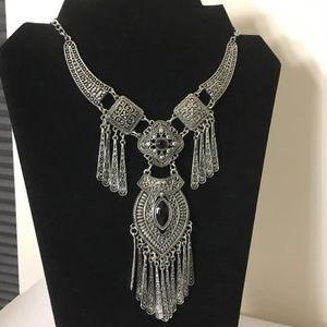 Silver tone bohemian statement necklace